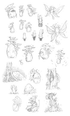 Attack of the Mushroom Fairies! Some old characters have been given a face lift- Have a load of sketches of them! Creature Concept Art, Creature Design, Fairy Drawings, Mushroom Art, Poses References, Plant Art, Character Design Inspiration, Fantasy Creatures, Drawing Reference Poses