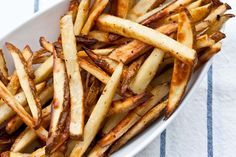 """""""beer soaked fries...really!"""" After soaking in beer, they're seasoned & baked in the oven at 425"""