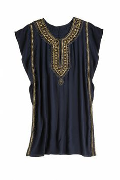 Escape to the isles in a Grecian inspired silk crepe dress. This versatile straight body silhouette transitions beautifully from summer to fall. Embellished with metallic gold accents of sequins and beads the Elliot Bead Embellished Silk #Dress is the perfect piece!