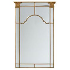 Corinthian Mirror. The beaded frame with acanthus leaf capitals surrounds the modern bevelled edged mirrors. The frame is finished in old gold.