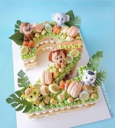 Monkey Birthday Cakes, Number Birthday Cakes, Animal Birthday Cakes, Number Cakes, Baby Boy Cakes, Cakes For Boys, Baby Shower Cakes, Third Birthday Girl, Boys 1st Birthday Cake
