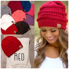 Slouchy Beanie RED Keep warm while looking ADORABLE! Super cute beanie with C.C label on it. Adorable, slouchy, thick knit and super soft.  This listing is for the RED beanie. * Check other listings for more color options Price is firm. Bundles of 2 or more receive a 15% discount Accessories Hats