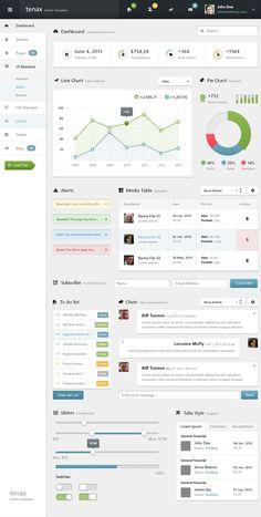 Tenax Psd Admin Panel Template | Psd Web Templates | Pixeden