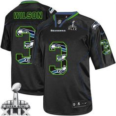 Russell Wilson New Lights Out Black Super Bowl XLIX Men's Stitched NFL Elite Jersey