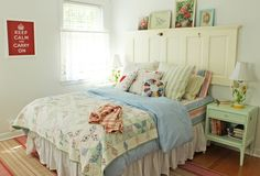Add character to your bedroom and use an old panel door as head board | A Sort Of Fairytale