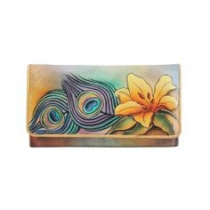 Enjoy exclusive for Anuschka Women's Hand Painted Accordion Flap Wallet Briggs And Riley, Disney Dooney, Day Bag, Purses And Handbags, Leather Wallet, Nasa, Hand Painted, Peacock, Eye Candy