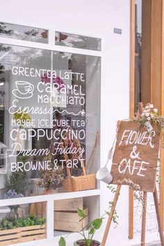 Maybe flower & cafe - window writing & sign Coffee Shop Design, Cafe Design, Web Design, Design Ideas, Different Writing Styles, Window Writing, Starting A Coffee Shop, Flower Cafe, Cafe Window