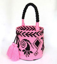 Items similar to Exceptional Flower bucket bag single tread Wayuu mochila handmade tote on Etsy Knit Or Crochet, Crochet Crafts, Yarn Crafts, Mochila Crochet, Tapestry Crochet Patterns, Tapestry Bag, Boho Bags, Basket Bag, Fabric Bags