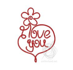 I Love You - Machine Embroidery Design - Instant Download - Three sizes