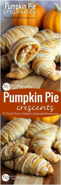 If you like Pumpkin Pie youll love this quick easy dessert. If you like Pumpkin Pie youll love this quick easy dessert hack! Pumpkin Pie Crescents give you all of the flavor of pumpkin pie fresh out of the oven in minutes! Winter Desserts, Köstliche Desserts, Delicious Desserts, Dessert Recipes, Yummy Food, Christmas Desserts, Tasty, Easy Fall Deserts, Brunch Recipes