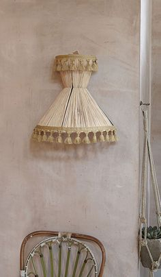 From Plumo blog. A raffia lampshade inspired by or made in Sicily. Perfect on rustic Med wall.