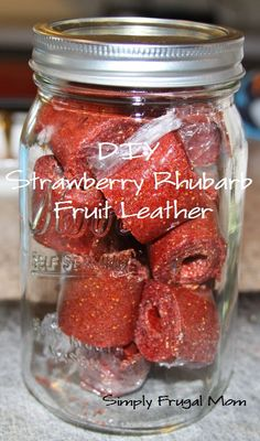 Strawberry Rhubarb Fruit Leather from Simply Frugal Mom