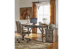 Tanshire desk.  Beautiful vintage option.  #Ashleyrecommends