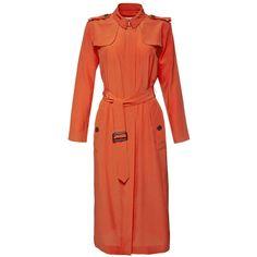 Burberry London Longsleeve Safari Shirtdress (€1.285) ❤ liked on Polyvore featuring dresses, orange, safari shirt dress, front zipper dress, burberry dress, silk shirt dresses and red dress