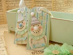 Snowmen paper tags - I love the pastel colors
