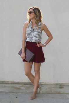 Camo tank with oxblood skirt