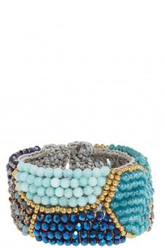 Beaded Crystal Embellished Cuff Bracelet.