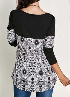 Long Sleeve Patchwork Printed Black T Shirt | Rosewe.com - USD $25.46