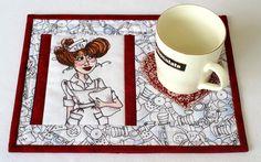 Nurse Mug Rug Quilted Mug Rug Medical Snack Mat by RedNeedleQuilts