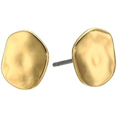 LAUREN Ralph Lauren Amalfi Coast Small Organic Disk Stud Earrings... ($32) ❤ liked on Polyvore featuring jewelry, earrings, hammered gold earrings, disc stud earrings, gold jewellery, gold jewelry and disc earrings