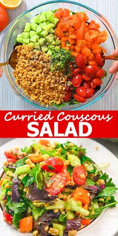 This Curried Couscous Salad is light and refreshing, and oh so delicious. You'll love it for a healthy lunch or a flavorful side at dinner. FOLLOW Cooktoria for more deliciousness! #couscous #salad #vegetables #vegetarian #vegan #plantbased #healthyrecipe #lunch #dinner #recipeoftheday
