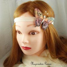 """bandeau papillon soie marron et vert sur élastique satin beige """"Maéva"""" Crown, Accessories, Jewelry, Fashion, Bandeaus, Alice Band, Conkers, Silk, Green"""