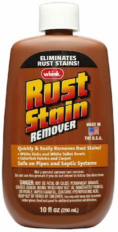 Whink Rust Stain Remover, 3 Count, 10 Ounce by Whink. $13.91. Quickly and easily removes rust stains. Safe for white sinks and white toilet bowls. Also for use on colorfast fabrics and carpets. Whink rust stain remover eliminates even the toughest of embedded rust stains from white toilets, sinks, bathtubs, color safe fabrics and carpeting. It is safe on your pipes and your septic system. As this is not a general purpose rust remover we do ask that you read all inst...