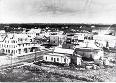 An aerial view of the Town of Stony Plain taken in the 1920s.