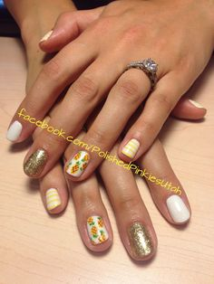 Polished Pinkies Utah: Pineapple manicure! White, gold glitter, yellow stripes and pineapples