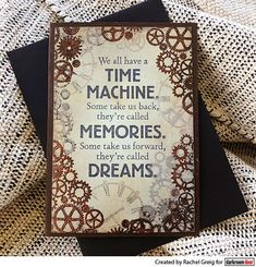 Card baby Rachel Greig using Darkroom Door Cogs Texture Stamp, Time Machine Quote Stamp and Ranger Hammered Mixed Media Embossing Powder