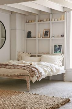 Magical Thinking Bohemian Platform Bed: i actually really like the idea of this bed platform with no bed sham/ box spring to show legs, and then maybe my woven & wooden crates under for storage