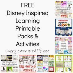 FREE Disney Inspired Learning Printable Packs & Activities