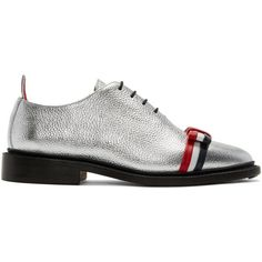 Thom Browne Silver Wholecut Bow Oxfords ($1,035) ❤ liked on Polyvore featuring shoes, oxfords, silver, metallic oxfords, lace up shoes, multi color shoes, thom browne shoes and leather sole shoes