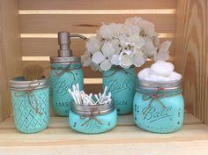 Mason Jar Bathroom Set Mason Jars Bathroom by MidnightOwlCandleCo