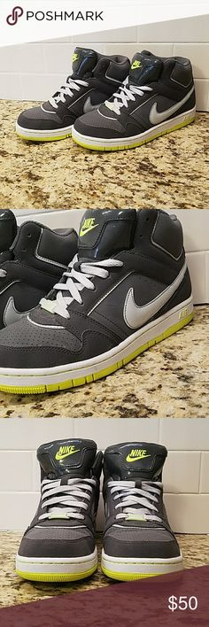 Nike AIR hightop sneakers Dark gray with white and lime green/yellowish accent. Fun sneaker for all. Worn 2x as a passenger on a motorcycle. Nike Shoes Sneakers