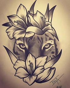 Pin by Mishee Mercier On Art in flower crown drawing Flower Crown Tiger Drawing Tiger and Flowers Drawing Tiger Flowers Tigerandflowers Natur Tattoos, Kunst Tattoos, Bild Tattoos, Body Art Tattoos, Sleeve Tattoos, Leo Tattoos, Zodiac Tattoos, Maori Tattoos, Tattoo Design Drawings