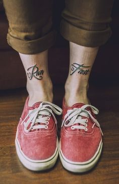 Love this! Not necessarily the font... I would probably do more of a typewriter font, but i love the words! And I would probably get them both on the side of one ankle
