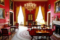 The Red Room is one of three state parlors on the first floor in the White House, the home of the President of the United States.
