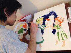 Painting Anna, Elsa and Olaf