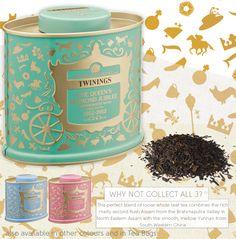 The limited addition queen diamond jubilee tea from Twinings. Twinings Tea, Types Of Tea, Chamomile Tea, Tea Tins, Tea Blends, My Cup Of Tea, Tin Boxes, Loose Leaf Tea, Tea Recipes