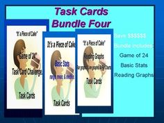 Save by Bundling!!!!!       Bundle 4 Task Cards includes Basic Stats, Reading Graphs, and the Game of 24 Challenge. This set of task cards contains over 135 task card inquiries. Meet the common core standards by having your students perform these activities.