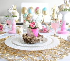 Elegant gold chargers and geometric terrariums give your Easter table a modern look.