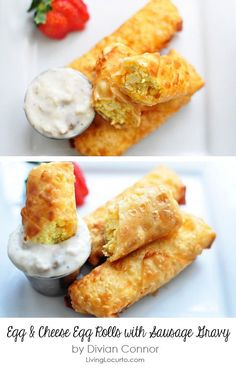 Scrambled Egg & Cheese Egg Rolls with Sausage Gravy - Easy Breakfast Recipe.