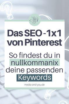 Pinterest ist DIE visuelle Suchmaschine, genau deswegen solltest du eine Keyword- Recherche durchführen, wenn du ganz weit oben gerankt werden möchtest. Diese Anleitung hilft dir dabei Pinterest SEO ganz leicht zu verstehen & deine richtigen Keywords für Pinterest schnell zu finden. Welche Tools nutze ich für die Recherche? Wo setzte ich die gefundenen Keywords am effektivsten ein? Wie kann ich zusätzlich meine Website SEO-technisch für alle Suchmaschinen optimieren? #mediaandyou