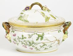 A ROYAL COPENHAGEN 'FLORA DANICA' OVAL SOUP TUREEN AND COVER MODERN standard printed and painted factory marks and shape number 20 3559. length of tureen across handles 13 1/2 in.