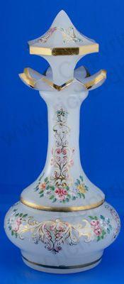 ANTIQUE GLASS: DRESSING TABLE BOTTLE, SETS, BOXES, POTS, & RELATED. c.1870 BOHEMIAN OPALINE MILK GLASS ENAMELLED & GILDED SCENT PERFUME BOTTLE