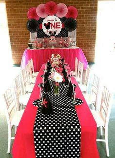 minnie-mouse-first-birthday-party-ideas-via-little-wish-parties-childrens-party-. Minnie Mouse Birthday Theme, Minnie Mouse Baby Shower, Mickey Party, Baby Girl Birthday, Minnie Mouse Party, First Birthday Parties, First Birthdays, 2nd Birthday, Birthday Ideas