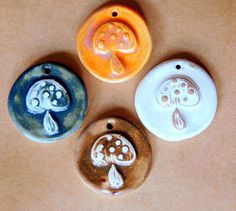 4 Handmade Ceramic Beads  Mushroom Beads by beadfreaky on Etsy, $10.50