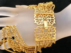 Vintage Crown Trifari Necklace Gold Multi 7 Strand Chain Signed Estate Jewelry | eBay