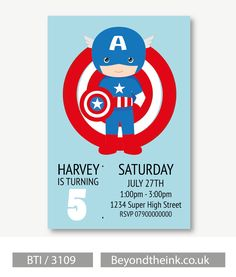 Personalised Captain America Invitations. Printed on Professional 300 GSM smooth card with free envelopes & delivery as standard. www.beyondtheink.co.uk
